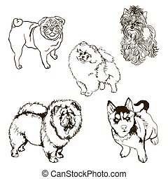 Vector set of dog breeds silhouette - Set of pet dog. Black...
