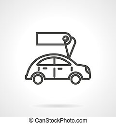 Used car sales black line design vector icon