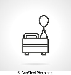 Helium balloon black line design vector icon - Equipment for...
