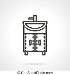Washstand black line design vector icon - Home interior...