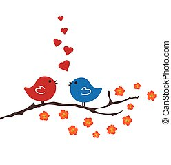 Birds Singing - vector bitrds and hearts