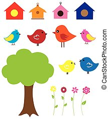 birds - vector birds, bird houses, flowers
