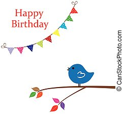 Birthday Card - vector happy birthday card with bird