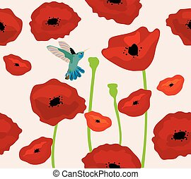 poppies background - vector poppies background with...