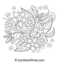 image with doodle flowers - Hand drawn image with flowers...