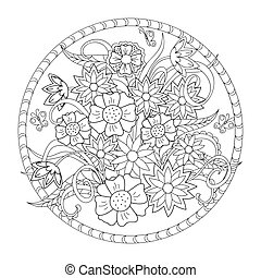the flowers and butterfly in the circle - Hand drawn image...
