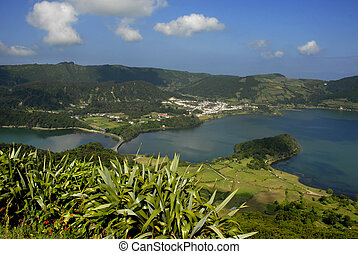 azores - seven lake city at the azores island of sao miguel,...