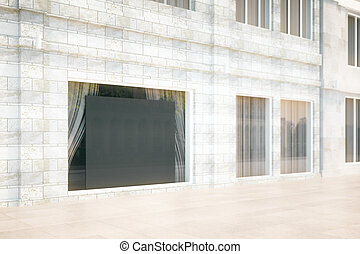 Blank black board in the window of building, mock up, 3D...
