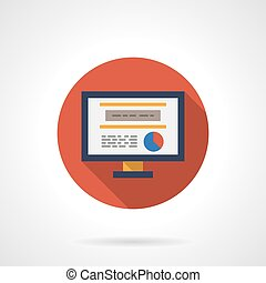 Web analytic icon round flat color vector icon - Red button...