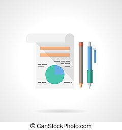 Business planning flat color design vector icon - Business...