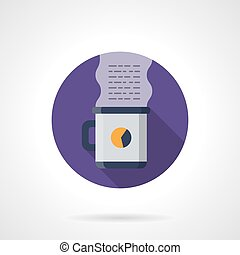 Freelance coffee round flat color vector icon - Work...