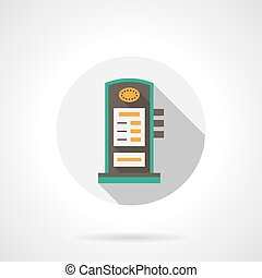 Charging station round flat color vector icon - Column of...