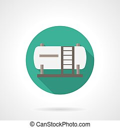 Fuel tank round flat color vector icon - White fuel tank or...