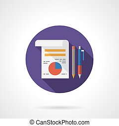 Management icon flat round flat color vector icon - Paper...