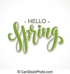 Hello Spring lettering design Vector illustration EPS10