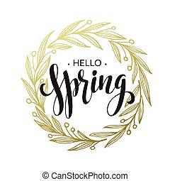 Spring handwritten calligraphy vector illustration, Black...