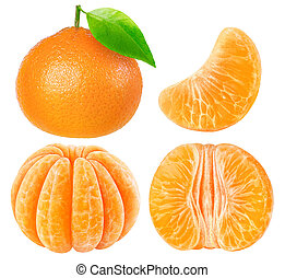 Collection of isolated tangerine pieces - Collection of...