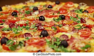 Low angle view video of pizza - Low angle view video of...