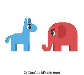 democrat and republican symbols - Democrat donkey facing...