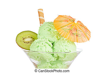 Delicious kiwi ice cream in glass with umbrella isolated on...