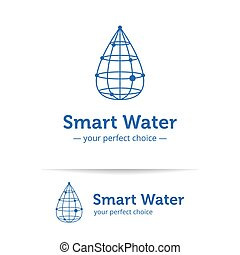 Vector line style clean water drop logo. Wireframe drop...