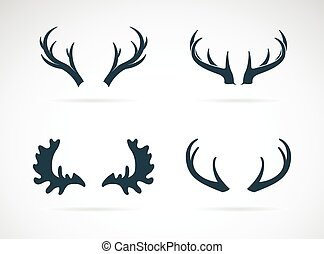 Vector antler icon set on white background Horn
