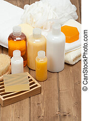Spa Kit Shampoo, Soap Bar And Liquid Shower Gel Towels - Spa...