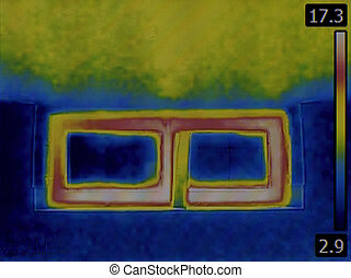 Basement Window Infrared - Thermal Image of a Heat Loss from...