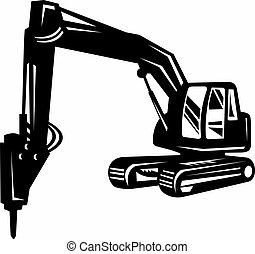 mechanical digger or excavator isolated on white background...