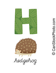 Letter H is for Hedgehog. These ABC illustrations with...