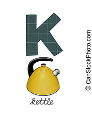 Letter K is for Kettle These ABC illustrations with...
