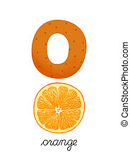 Letter O is for Orange These ABC illustrations with...