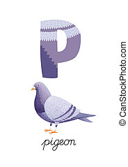 Letter P is for Pigeon. These ABC illustrations with...