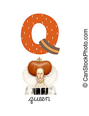 Letter Q is for Queen These ABC illustrations with...