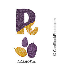 Letter R is for Raisins These ABC illustrations with...