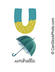 Letter U is for Umbrella These ABC illustrations with...