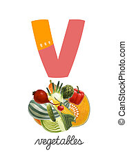 Letter V is for Vegetables These ABC illustrations with...
