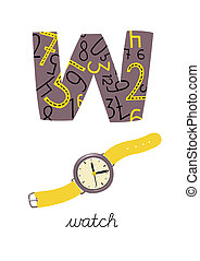 Letter W is for Watch These ABC illustrations with...