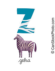 Letter Z is for Zebra. These ABC illustrations with...