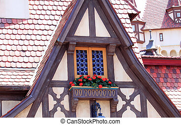 European traditional building structure in an amusement park