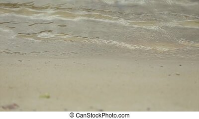Lake Waves over Sand Beach Holiday Background