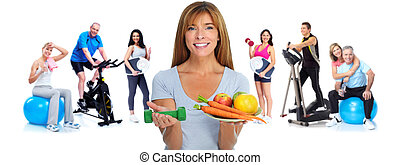 Healthy woman with vegetables and fruits.