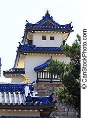 Japanese traditional building structure in an amusement park