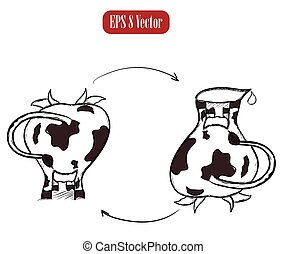 Cow and jug poster Vector illustration EPS8