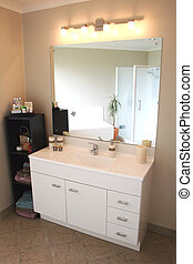 Modern Bathroom Vanity - A white and stainless steel modern...