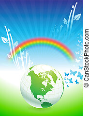 Globe on Rainbow Environmental Conservation Background