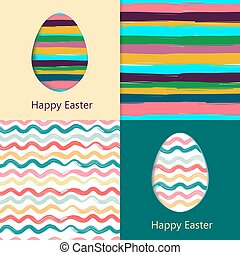 Easter cards, easter eggs. Colorful seamless patterns...