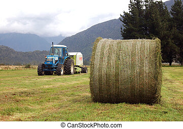 baling silage - Tractor baling up large round bales of grass...