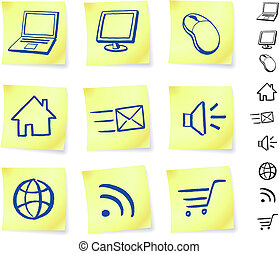 technology on post it notes original vector illustration...