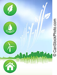 Green nature internet buttons background with new york skyline